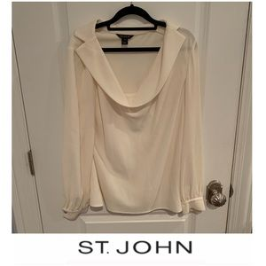 St. John Cowl Neck Collared Blouse